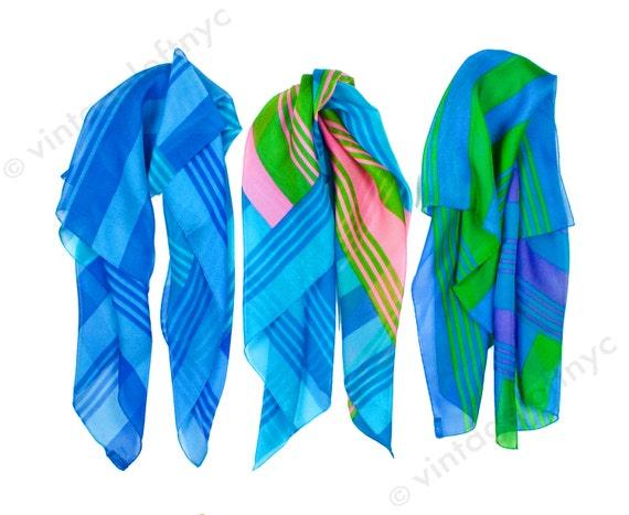 Silk Chiffon Scarf | 1960s,60s Scarf | Colorblock