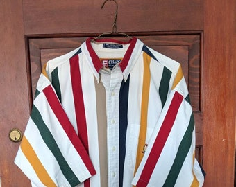 cc9ce9da58211 Vintage 1990s Mens Striped Ralph Lauren Chaps Button Up Short Sleeve Oxford  Shirt Top Cotton Red White Blue Green Stripes Vertical Striped