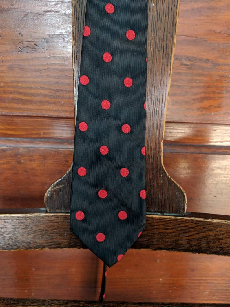 Vintage 1960s Necktie Skinny Tie 60s Macaseta Ltd Classic Necktie Polka Dots Black and Red Rockabilly Teddy Boy