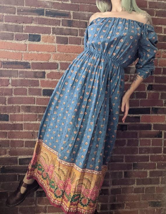 Vintage 1970s Peasant Sleeve Blue Cotton Dress Off