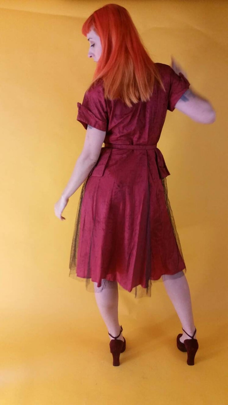 Incredible Rare Late 1940s Red Dress with Floral Mesh Tulle Overlay Short Kimono Sleeves Front Zipper and Belt Peplum