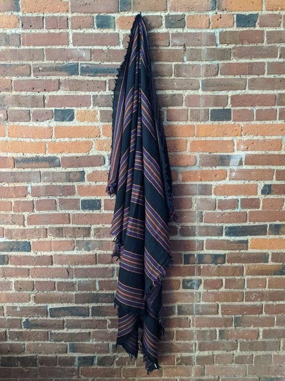 Black and Purple Striped Wool Blanket Shawl Scarf