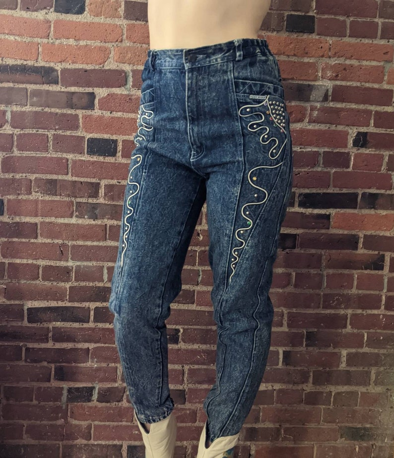 Vintage 1980s Acid Washed High Waisted Tapered Jeans with Elastic Waist and Bedazzled Jeweled Pocketa by Hany Wear