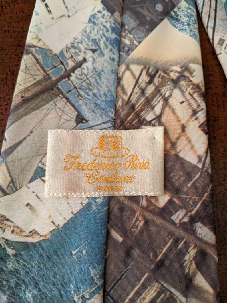 Vintage 1970s Sail boat Racing boat Boating Ocean Novelty Conversational Necktie Vintage Menswear Tie