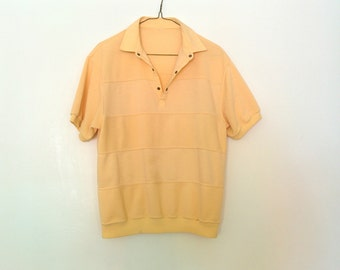 1980s Yellow Miami Vice Style Button Up T Shirt Vintage Tee Polo Gaucho Rockabilly