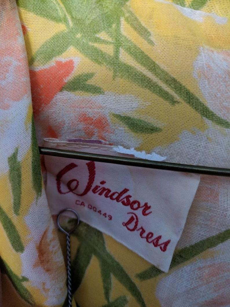 Vintage 1960s Yellow Floral Shirt Waist Dress with Tie Belt A Windsor Dress 60s Flowers Orange Green Yellow