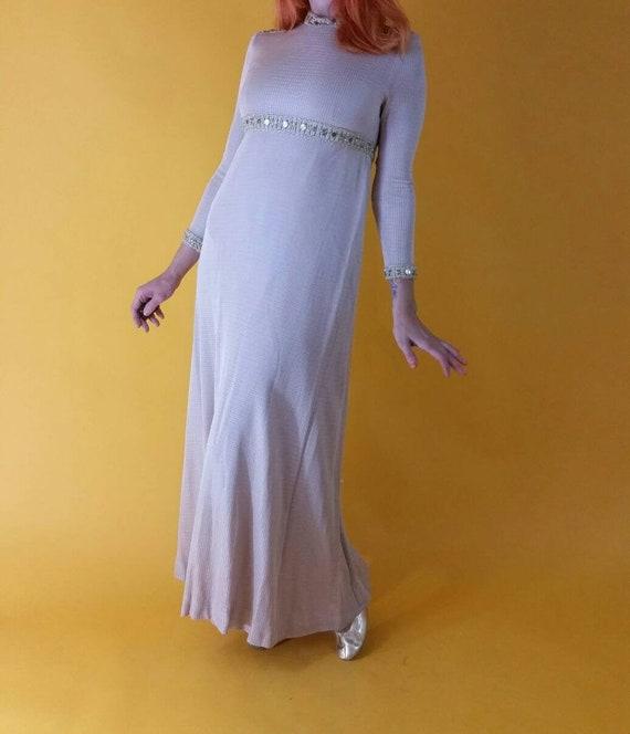 Vintage 1960s Empire Waist Mock Neck Long Sleeve S