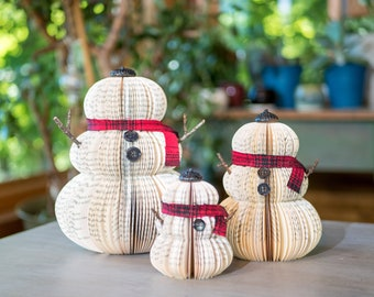 Book Snowman-Christmas Decor-Holiday Decor-Snowman-Christmas Decoration-Christmas Gifts-Book Exchange-Winter Decor-Teacher Gift