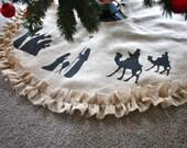 Items Similar To Nativity Burlap Tree Skirt Ruffled