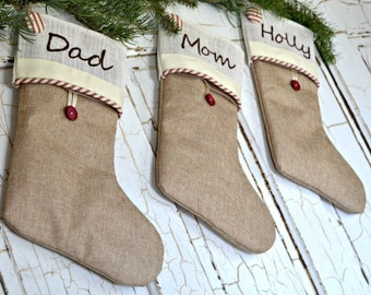 more colors burlap stockings personalized christmas - Rustic Christmas Stockings
