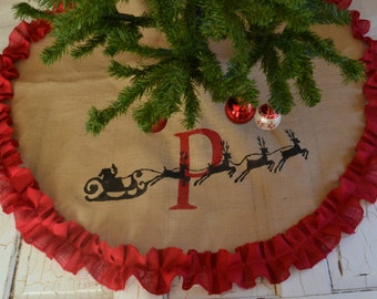 santa burlap tree skirt personalized tree skirt monogramed custom tree skirt christmas tree skirt
