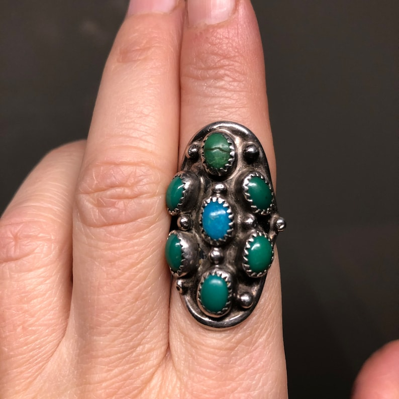US size 7 70s gr 10 Vintage Navajo ring in silver and natural turquoise