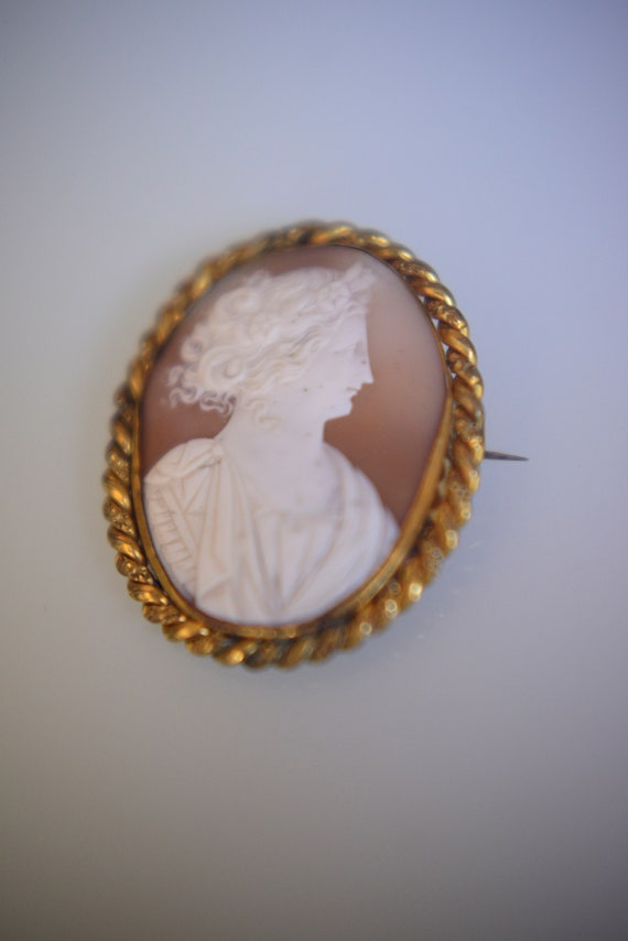 49c1a697113 Beautiful Vintage Gold Plated True Shell Finely Carved Cameo
