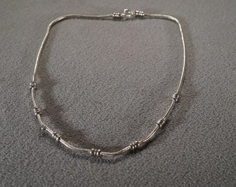 Vintage Multi Round Carved Lucite Bead Fancy Twisted Silver Tone Link Chain Art Deco Style Necklace       **RL