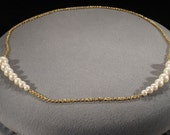 Vintage Traditional Style Yellow Gold Tone Faux Pearl Line Link Necklace Jewelry -K 14