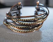 Vintage Copper Brass Bangle Bracelet with Alternating Twisted and Un-Twisted Bands B
