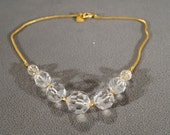 Vintage Art Deco Style Yellow Gold Tone Designer Signed Anne Klein Bib Style Glass Beaded Necklace Jewelry -K 18