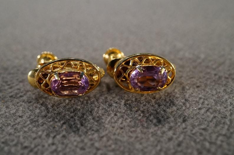 Vintage Art Deco Style Yellow Gold Tone Faux Amethyst Rhinestone Glass Stone Clip On Earrings Jewelry   K#30