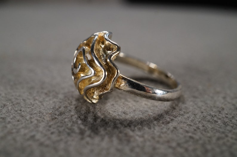 vintage sterling silver statement ring with large ruffled rosette flower design on the face size 8  **M2
