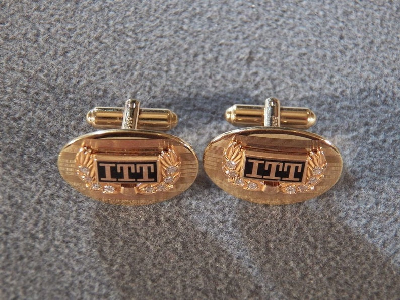 Vintage Gold Tone Stately ITT Logo Cufflinks with Rhinestones Very Nice!~~ **RL