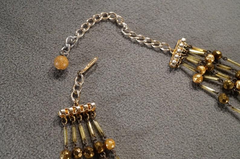 Vintage Art Deco Style Yellow Gold Tone Round Multi Strand Beaded Necklace Jewelry   K#88
