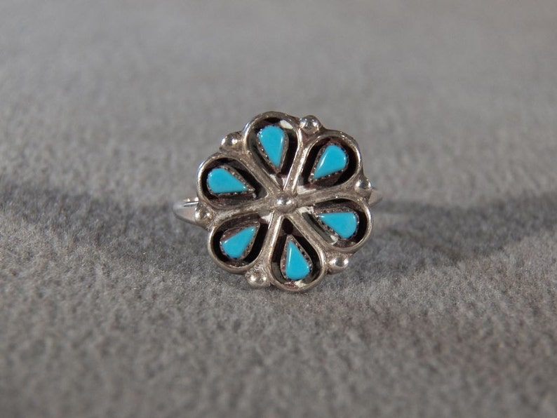 Vintage Sterling Silver 6 Pear Turquoise Fancy Southwestern Style Band Ring Size 7 **RL