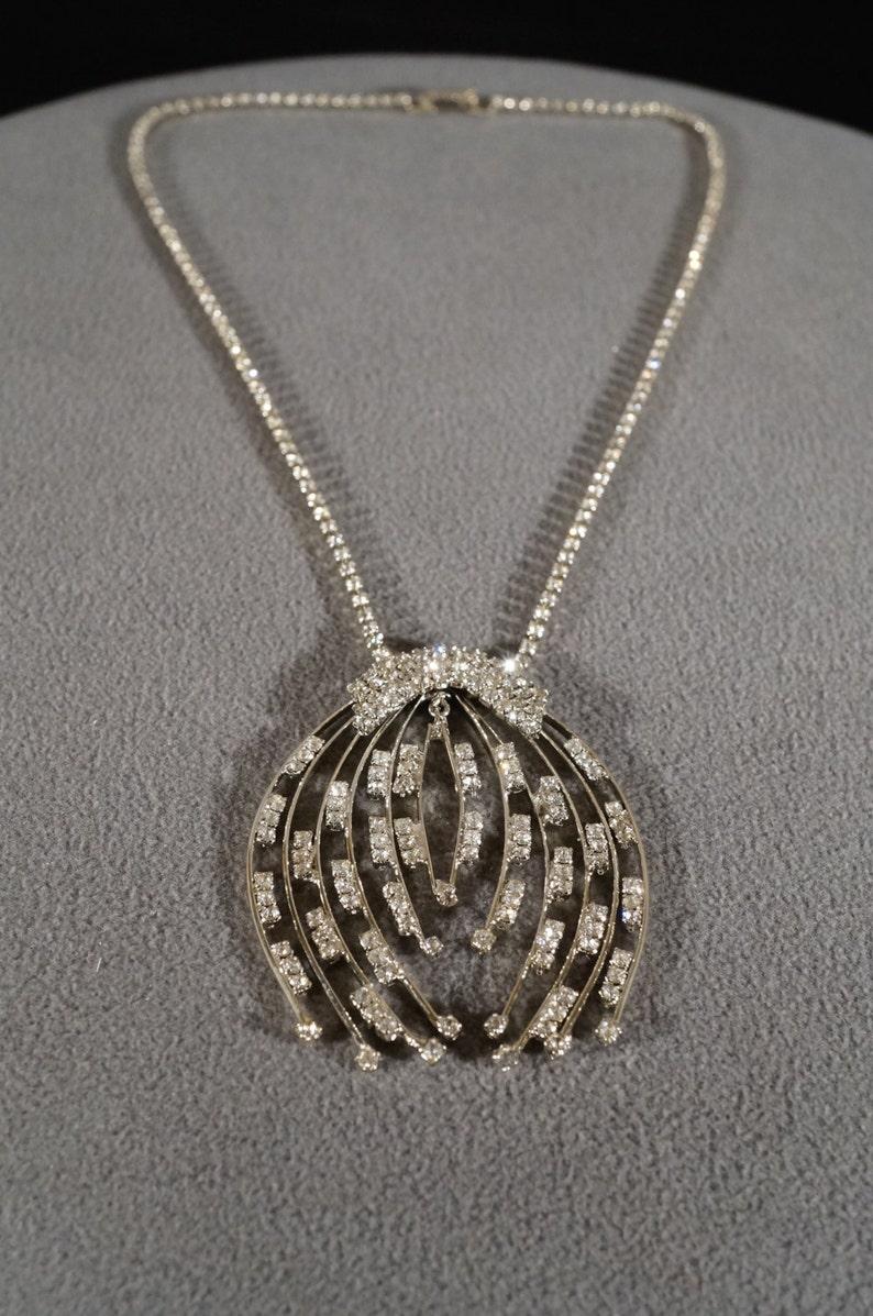 Vintage Art Deco Style Silver Tone Lavaliere Pendant Rhinestones Dangle Large Spray Design Necklace Jewelry K