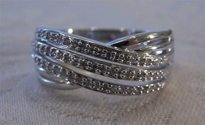 Vintage Sterling Silver 12 Carat Round Diamond Wedding Cross Over Design Band Ring Size 10