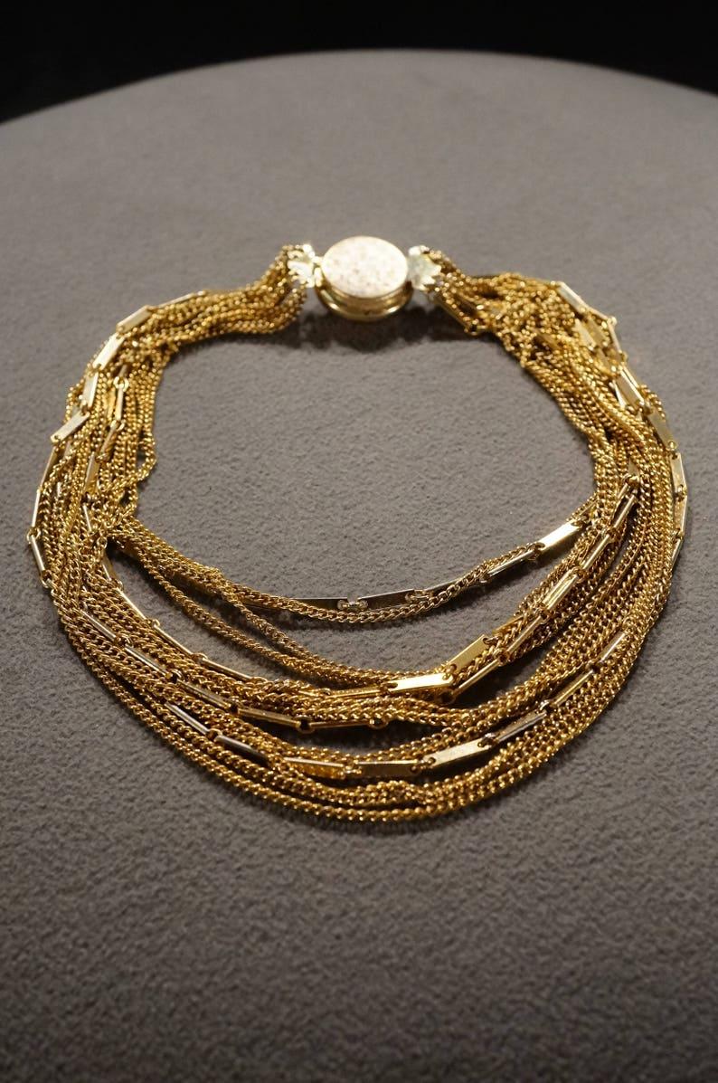 K#3 Vintage Retro Style Yellow Gold Tone Multi Strand Line Link Round Locking Closure Necklace Jewelry