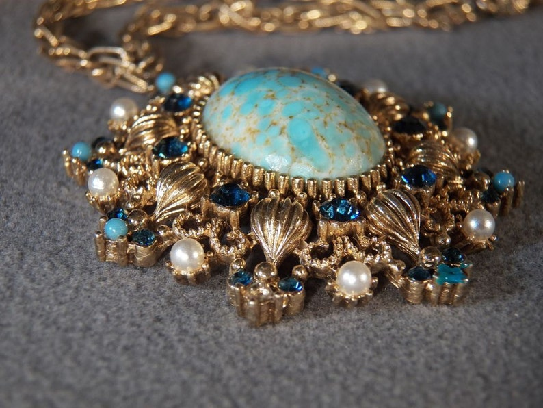 Vintage Yellow Gold Tone Large Oval Multi Round Faux Pearl Turquoise Rhinestone Fancy Etched Scrolled Filigree Dangle Lavaliere Necklace**RL