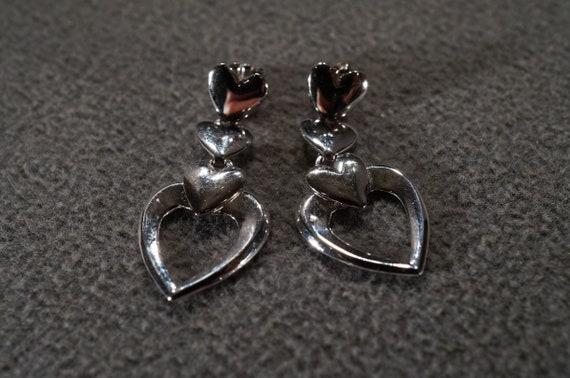 Vintage Art Deco Style Sterling Silver Glass Stone Heart Shaped Euro Wire Pierced Earrings Jewelry  K#46