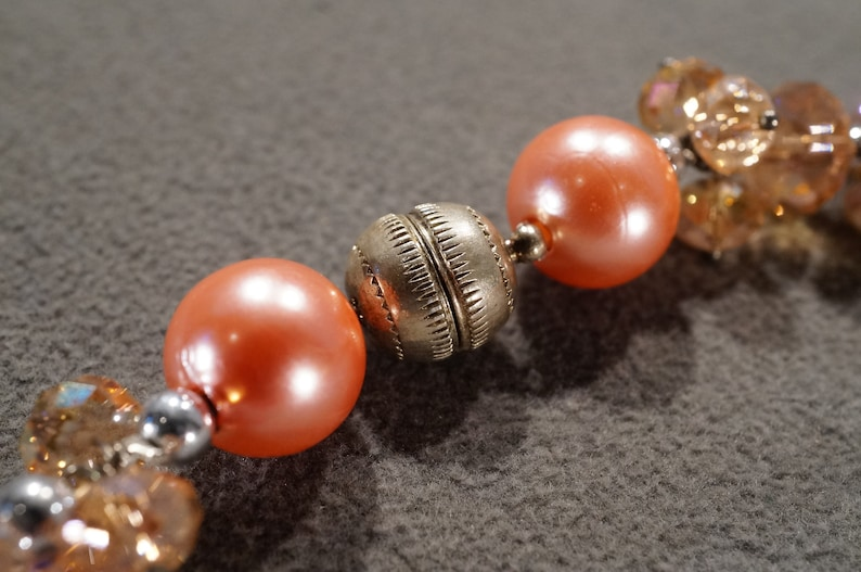 Vintage Art Deco Style Silver Tone Glass Beads Round Coral Color Aurora Borealis Necklace Jewelry   K#45