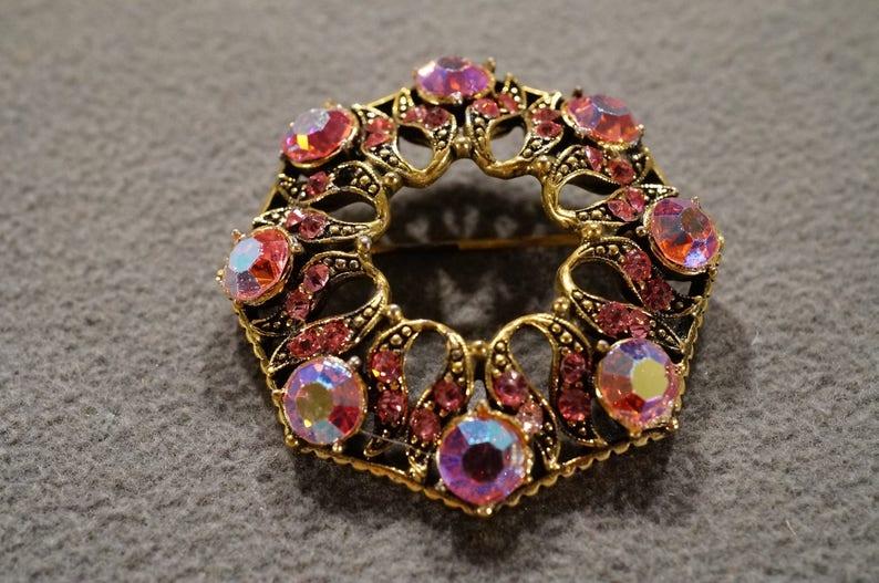 K#51 Vintage Art Deco Style Yellow Gold Tone Glass Stone Aurora Borealis Designer Signed Weiss Set Jewelry