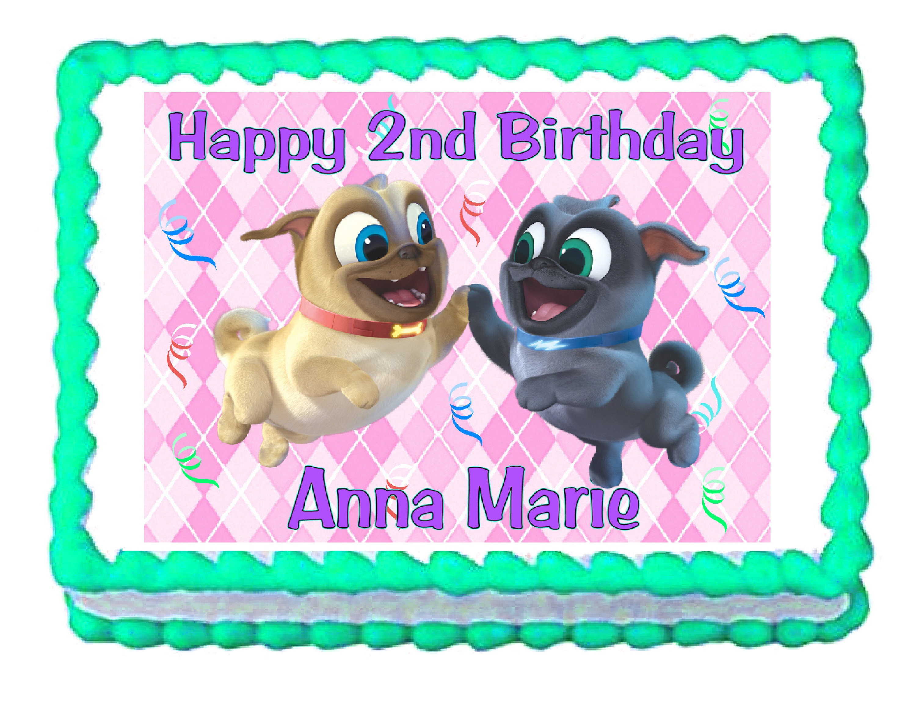 Puppy Dog Pals Pink Background Party Decoration Edible Cake Etsy