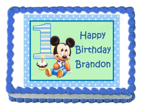 Baby Mickey Mouse Edible Cake Image Cake Topper Frosting Sheet Etsy