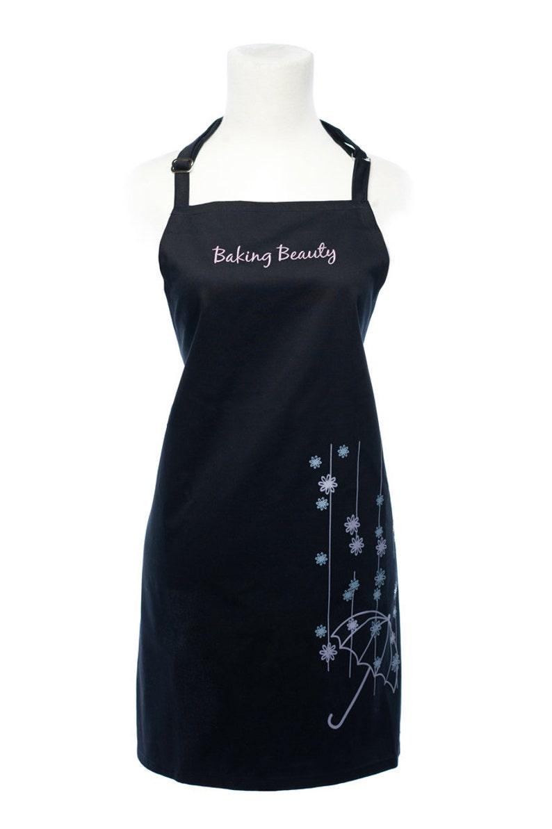 Elegant Women/'s Full Apron in Midnight Navy with Raining Flowers Design