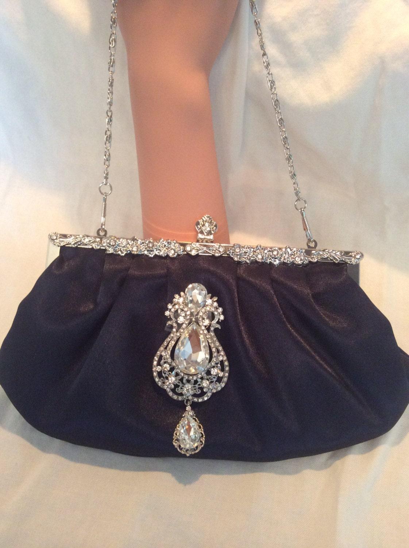 pochette satin bleu marine sac sac main mariage pochette. Black Bedroom Furniture Sets. Home Design Ideas