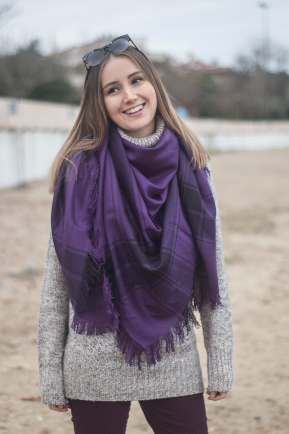 Purple Blanket Scarf Gift For Women Tartan Scarf Square