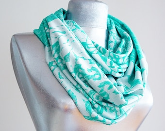 Scarf - Handmade Turquoise Green  Infinity Scarf - Summer Scarf  - Cotton Jersey