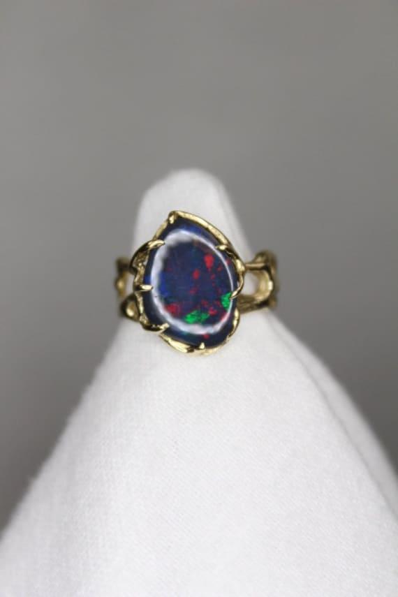 Lightning Ridge Black Opal 14K Gold Ring