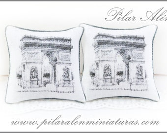 diseño de puntos negros Escala 1//12th Casa De Muñecas blancos Cojines
