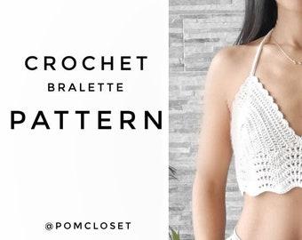 Crochet bralette top Pattern (model Ibiza) , PDF file, S-XL size