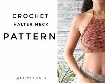 Crochet Halter top pattern (model Monterosso), summer top pattern, PDF file, top S-L