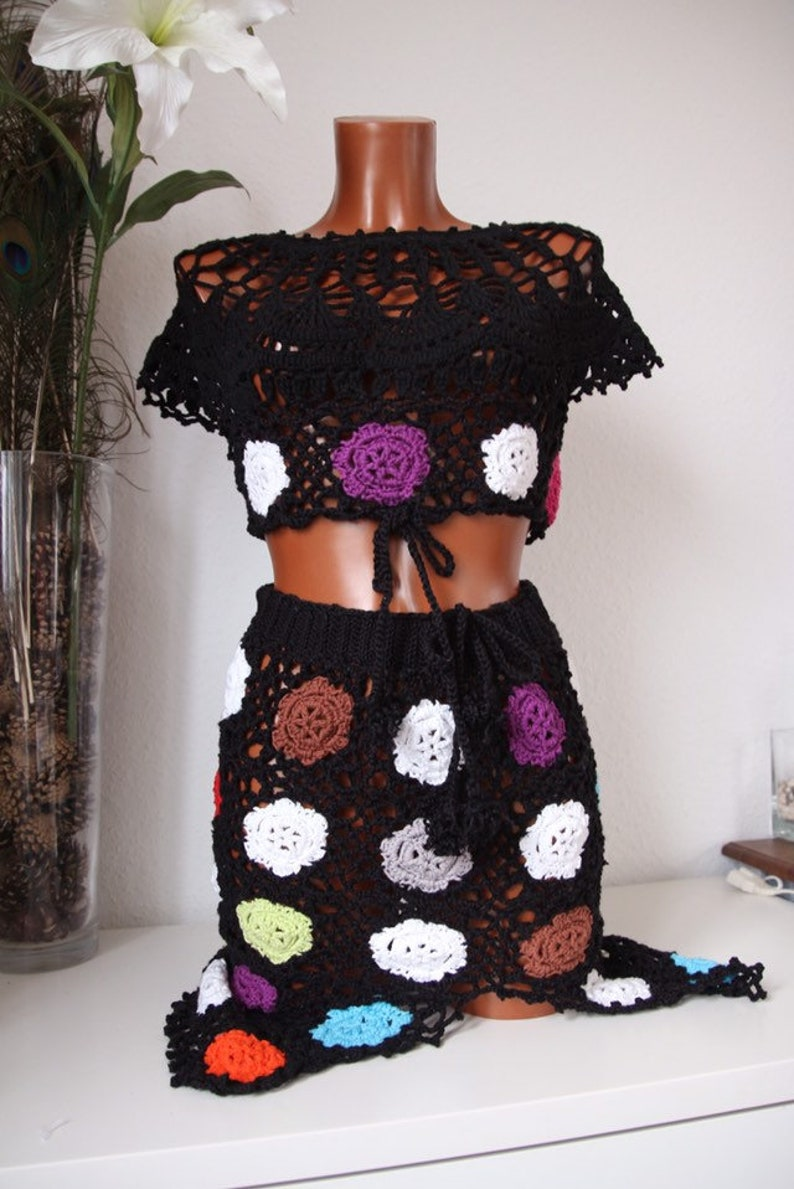 A crochet two pieces in colorful flowers pattern to cover up image 0