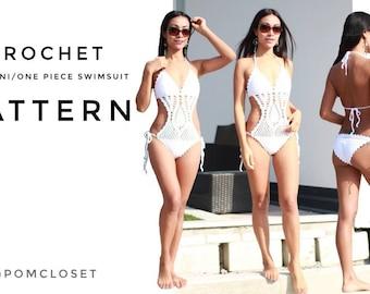 Crochet Monokini/one piece bathing suit, PDF file, S-XL. Youtube tutorial available on POMCLOSET Channel