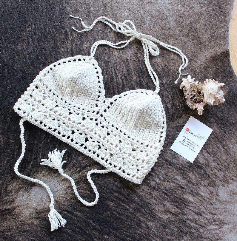Crochet crop top handmade top crochet bikini top summer top image 0