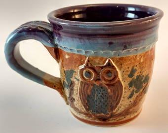 Owl mug, carved stoneware #301