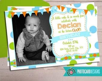 1st Birthday Invitation Boy Photo Printable Digital Print File Invite Party
