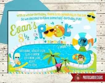 Half birthday invitation etsy pool birthday invitation half birthday party summer birthday pool party invitation swimming party end of summer digital invite party filmwisefo