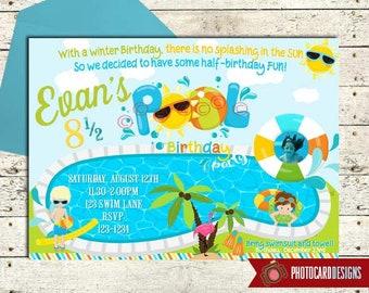 Pool Birthday Invitation Half Party Summer Swimming End Of Digital Invite